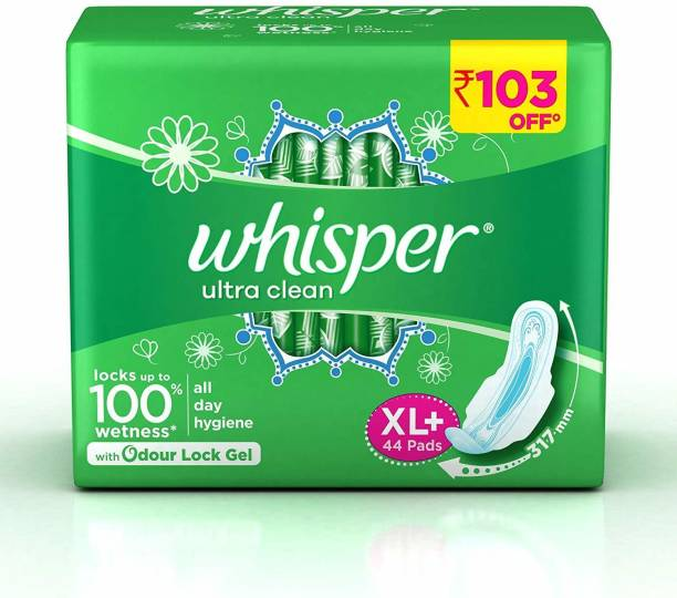 Whisper Ultra Clean Sanitary Pads - 44 Pieces (XL Plus) Sanitary Pad