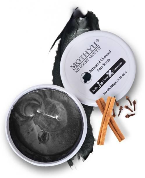 MOTHYU Activated Charcoal face Scrub - for Exfoliation, Anti-acne & Blackhead Removal face  Scrub