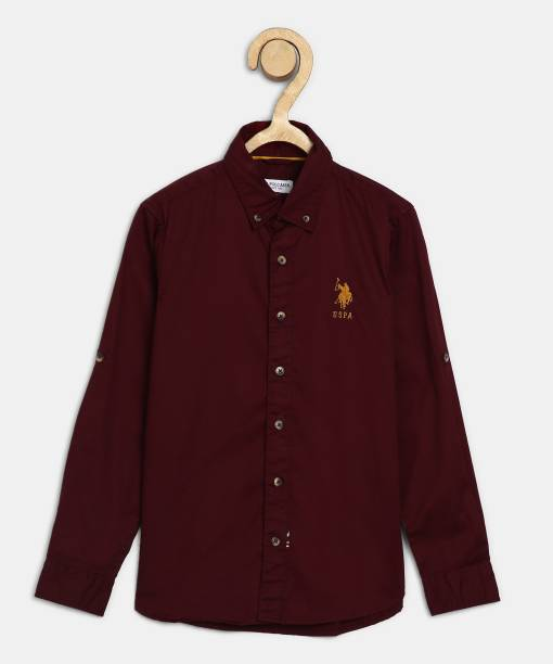 US Polo Kids Baby Boys Solid Casual Maroon Shirt