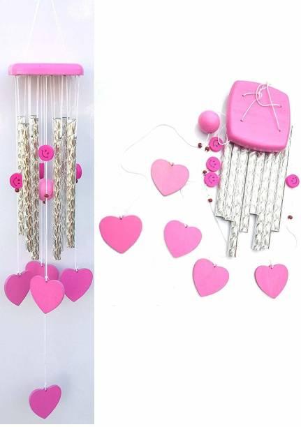 shanol B Squar pink Heart Shape Wind Chime for home decoraton Wood, Aluminium Windchime