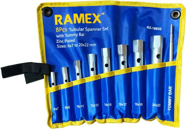 RAMEX 18630 TUBULAR BOX SET OF 8 PCS (6x7 - 20x22mm) + DOUBLE STEP TOMMY BAR Double Sided Box End Wrench