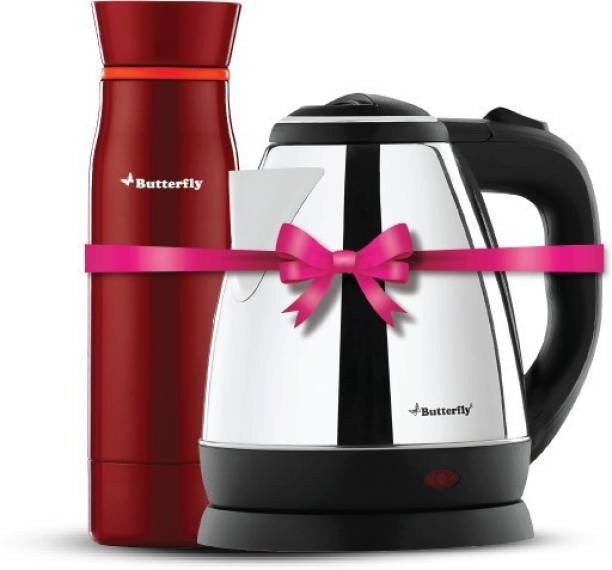 Butterfly Rapid Electric Kettle (1.5 L, Black) & H&O 500ML Flask (Terracotta Red)