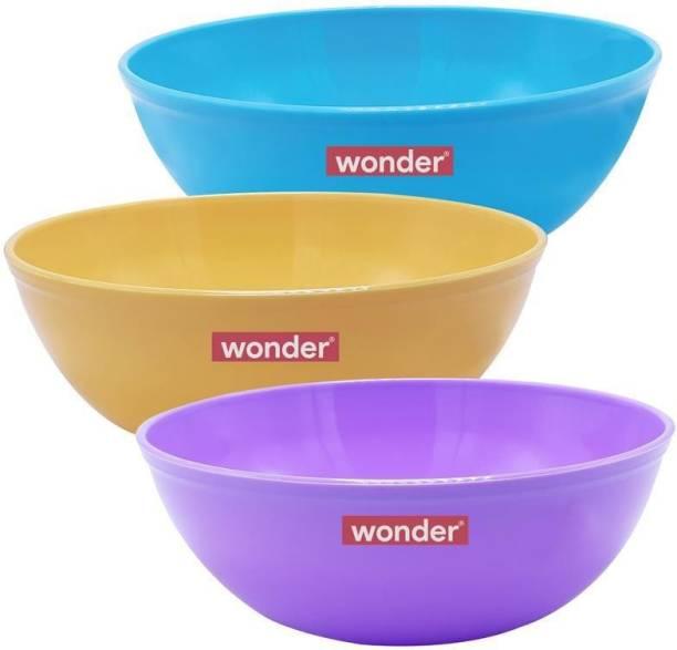 Wonder Microwave Safe Kitchen / Salad / Mixing Bowls, Set of 3, 1500 ml, Made in India Plastic Salad Bowl