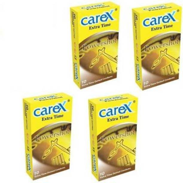 CAREX Powershot Extra time Dotted Condom For Men (Set of 4) Condom