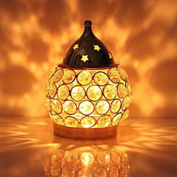 Fashion Bizz Brass Akhand Diya | Diamond Crystal Deepak/Dia | Akhand Jyot | Magical Lantern Brass Diya | Decorative Brass Crystal Oil Lamp | Tea Light Holder Lantern | Puja Lamp Brass Table Diya Brass Table Diya