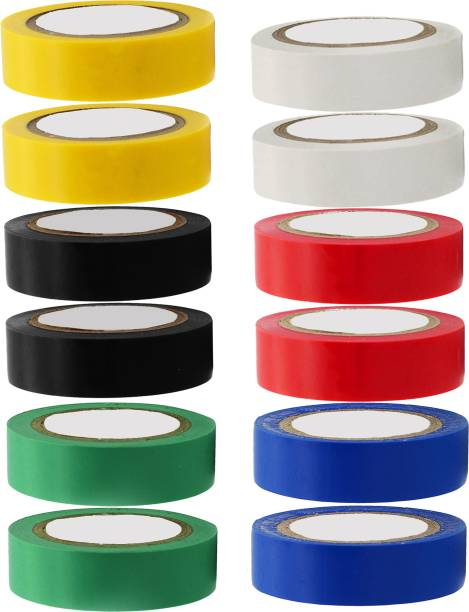 Hillgrove PVC Tape (Pack of 12) Self Adhesive Electrical Insulation Tape