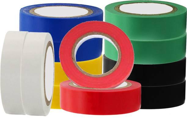 Hillgrove PVC Tape 12 Pcs Premium Quality Self Adhesive PVC Electrical Insulation Tape (Pack of 12)