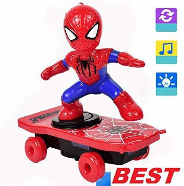 ketmart Kids Automatic Rotation Electric Skateboard Dance Spiderman Electronic Walking Toys with Music Light