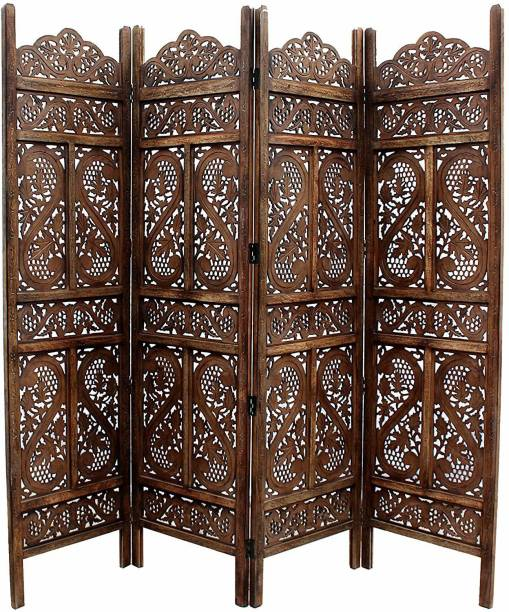 Artesia Handcrafted 4 Panel Wooden Room Partition & Room Divider (Dark Brown) Solid Wood Decorative Screen Partition