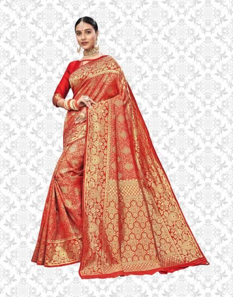 Divastri Woven, Embellished Banarasi Silk Blend, Jacquard Saree