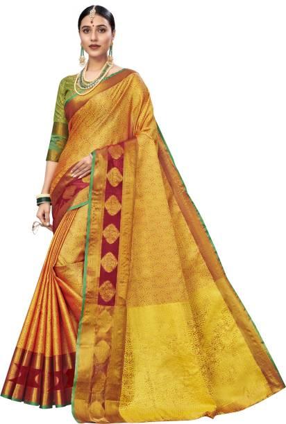 SAARA Woven, Embellished Banarasi Tussar Silk, Jacquard Saree