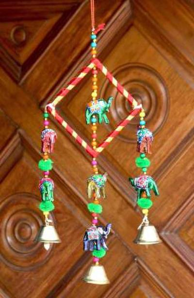 SPK Wooden Multicoloured Handpainted & Handmade Decorative Hanging -Wind Chimes Hanging Decorative Item Wood Windchime