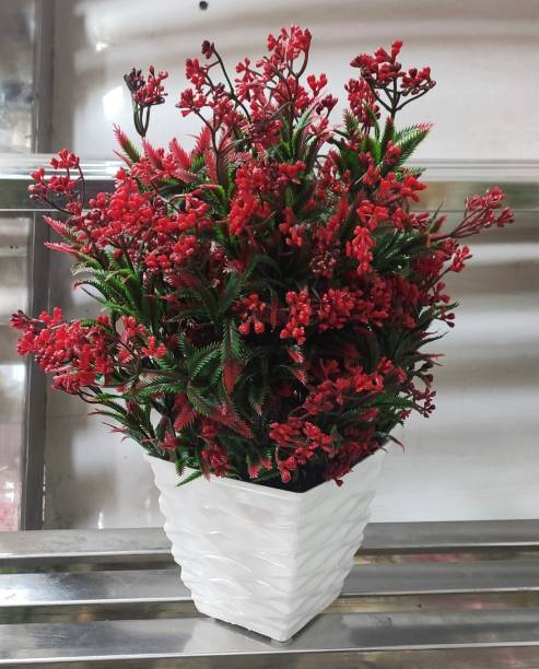 BK Mart Natural Looking Persian Leaf Red Flower Plant with Pot, Best for Home Office or Gift Bonsai Wild Artificial Plant  with Pot