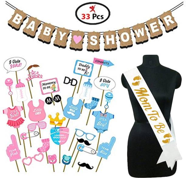 Party Propz Baby Shower Set of 33 Pieces Combo (Banner+Photo Booth Props+Mom to Be Sash)