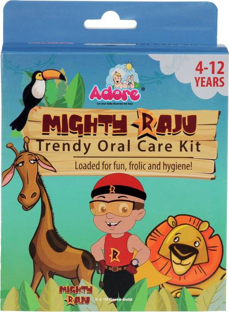 Adore Mighty Raju Trendy OralCare Kit - 1 Pop Up Toothbrush - 1 Candy Swirl Tongue cleaner - 2 Minutes sand timer