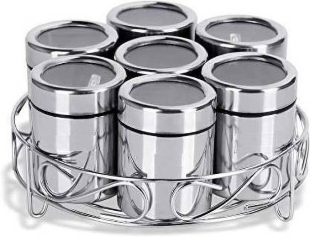LIMETRO STEEL High Quality 7 in 1 Stainless Steel Masala/Fruit/Mukhwas/Spice Box Container with Spoons and Container Stand,Used for Kitchen Condiment Set