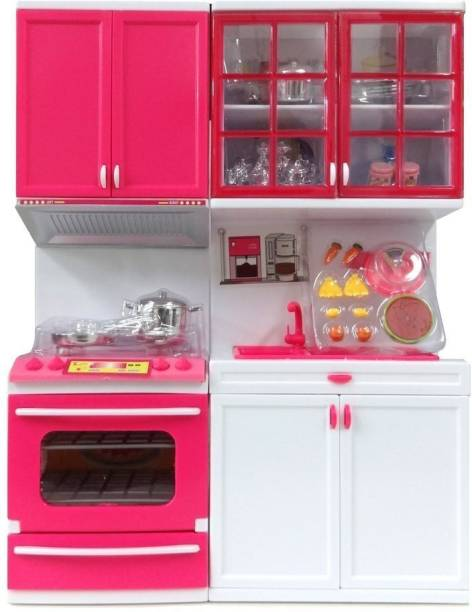 PRESENTSALE TOYS 2 fold Doll House Kitchen set for kids with light music