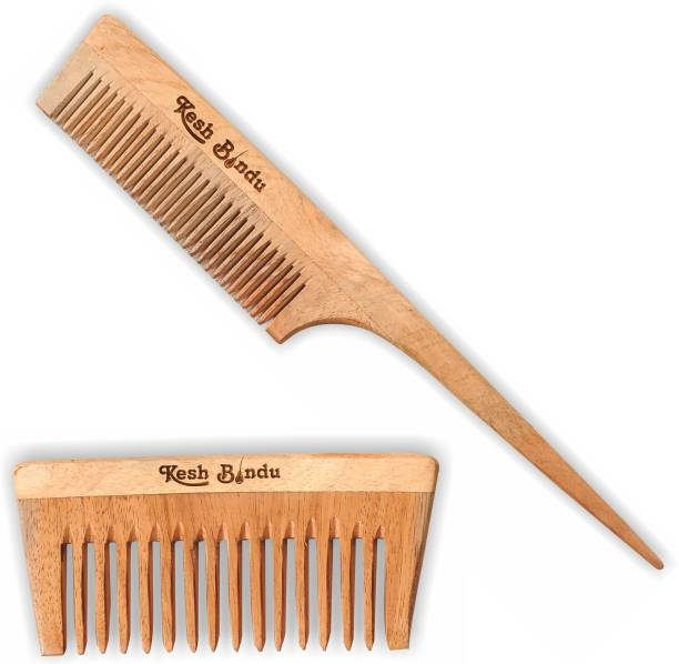 kesh Bindu Neem Wood Combs 100% Handmade, Anti- Dandruff C2 & C3 Comb