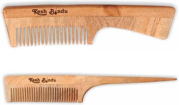 kesh Bindu Neem Wood Combs 100% Handmade, Anti- Dandruff C1 & C3 Comb