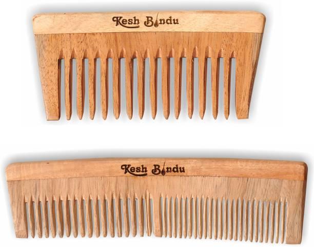kesh Bindu Neem Wood Combs 100% Handmade, Anti- Dandruff C2 & C4 Comb