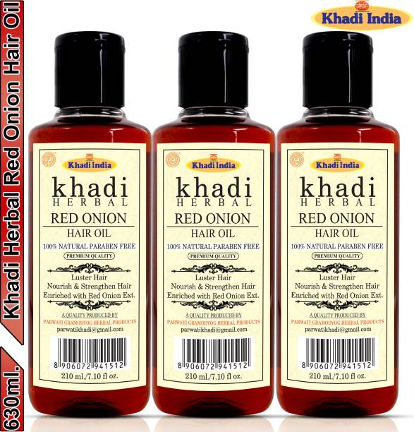 Khadi Herbal Red Onion Hair Oil Preventing Hair Loss & Promoting Hair Growth (Pack Of-3) Hair Oil