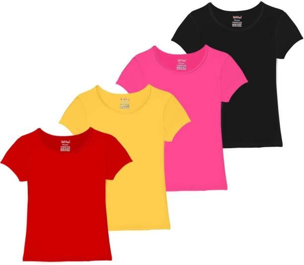 FabTag  - kiddeo Girls Solid Cotton Blend T Shirt