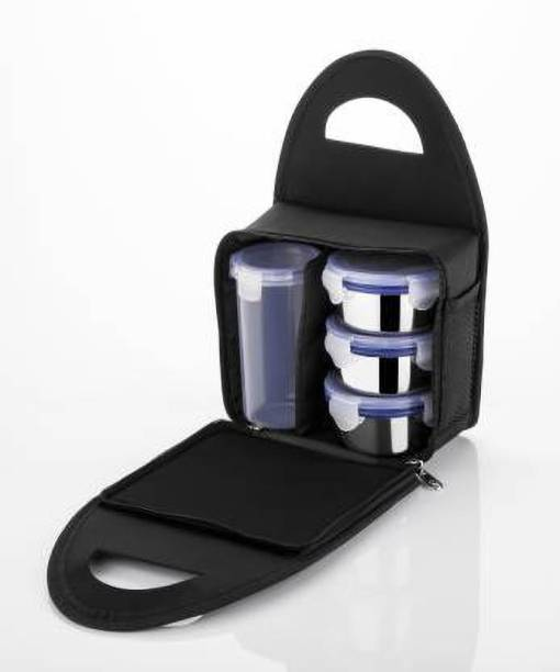 Topware Lunch Box for School, Lunch Box Steel with 3 Push-up Air Tight & Leakage Proof Containers, 1 Set with Plastic Bottle, Lunch Boxes for Office with Bag 3 Containers Lunch Box (1000 ml) 3 Containers Lunch Box
