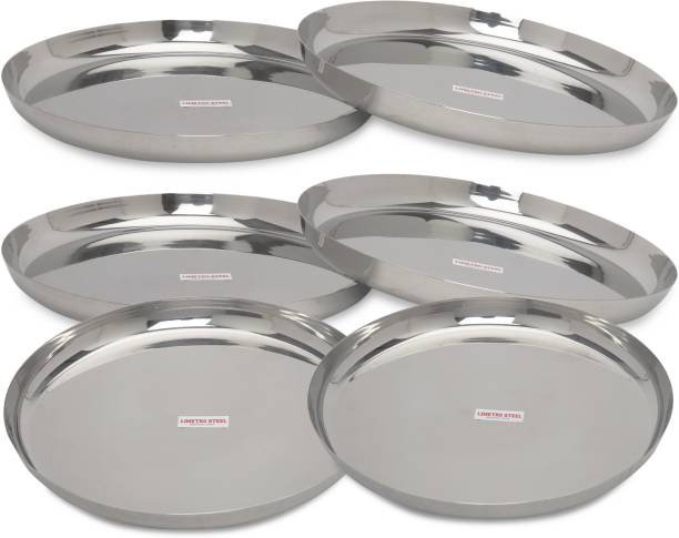 LIMETRO STEEL Stainless Steel Heavy 22 Gauge Mirror Polish 6 pcs set Dinner Plates / Bhojan Thali / Lunch Plates Size Np. 13 Dinner Plate