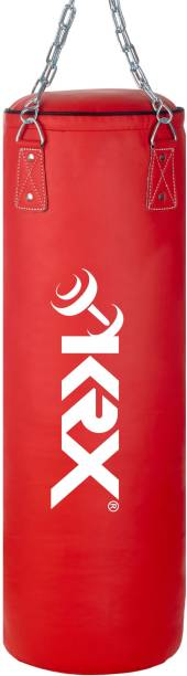 KRX Ultimate 3 Feet Filled Red Punching Bag PU Leather with Chain Hanging Bag