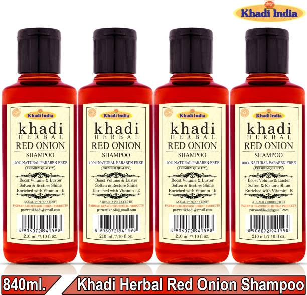 Khadi Herbal Red Onion Shampoo/Hair Cleanser Promote Hair-Regrowth Prevent Hair Fall (Pack Of-4)