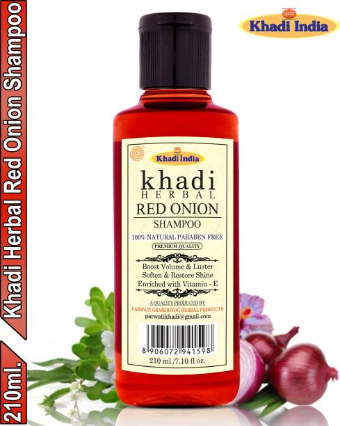 Khadi Herbal Red Onion Shampoo/Hair Cleanser Promote Hair-Regrowth Prevent Hair Fall (Pack Of-1)