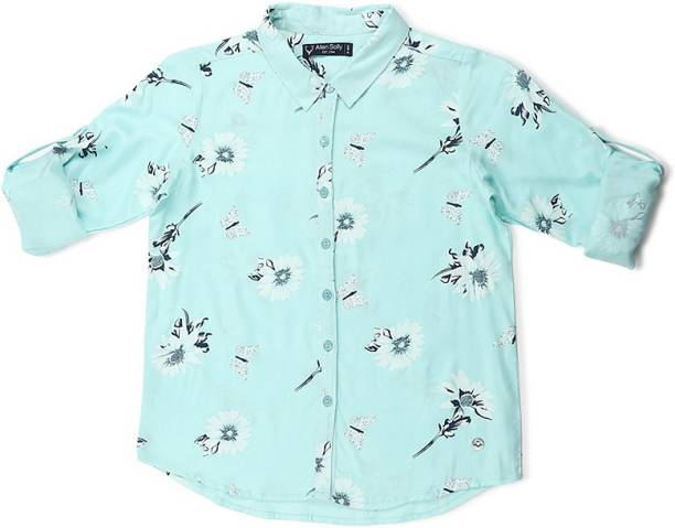 allen solly Girls Printed Casual Blue Shirt