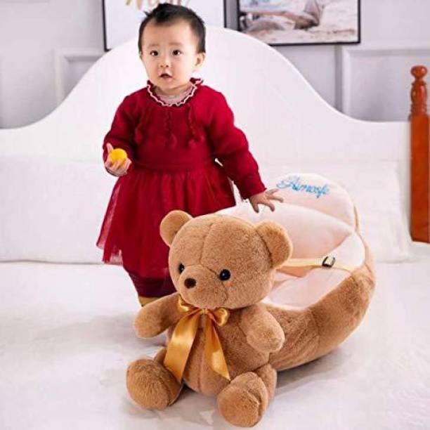 Vaishno Teddy Bear Shape Soft Plush Cushion Baby Sofa Seat or Rocking Chair for Kids - 45 cm Brown Fabric Sofa