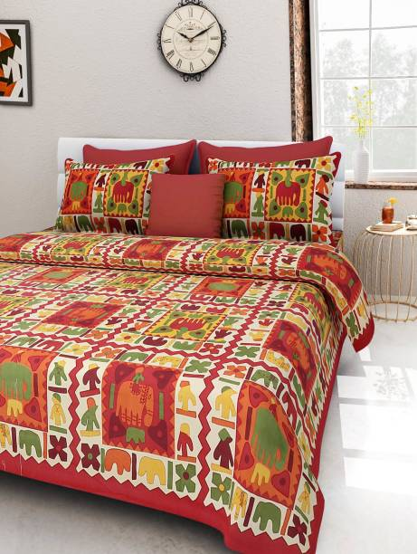 RoopGovind 100 TC Cotton Double Jaipuri Prints Bedsheet