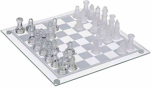 Webby Glass Chess Set Featuring Frosted and Clear Glass Pieces & Glass Board( 20x20CM) Indoor Sports Games Board Game