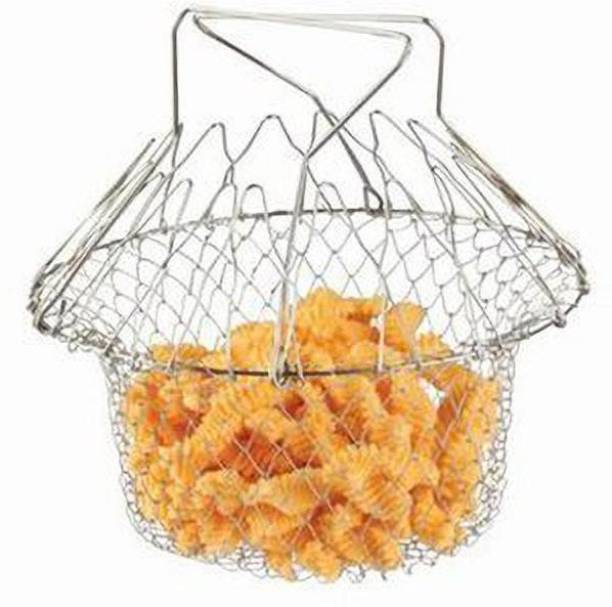 Anva Foldable Chef Basket Solid Steel 12 in 1 Chef Cooking Net Basket for Deep Fry, Boiling, Steam, Rinse Collapsible Deep Frying Basket