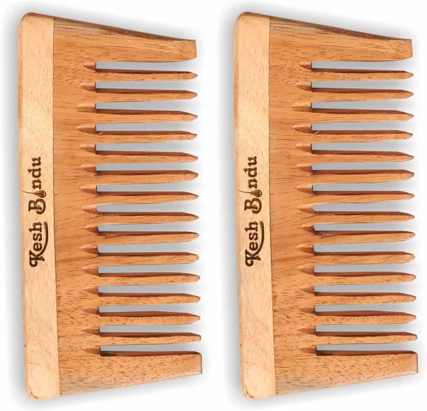 kesh Bindu Neem Wood Combs 100% Handmade, Anti- Dandruff Pack of 2