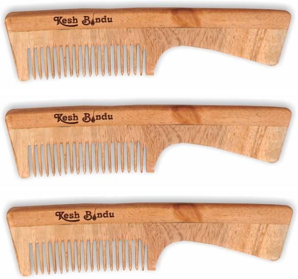 kesh Bindu Neem Wood Combs 100% Handmade, Anti- Dandruff Pack of 3