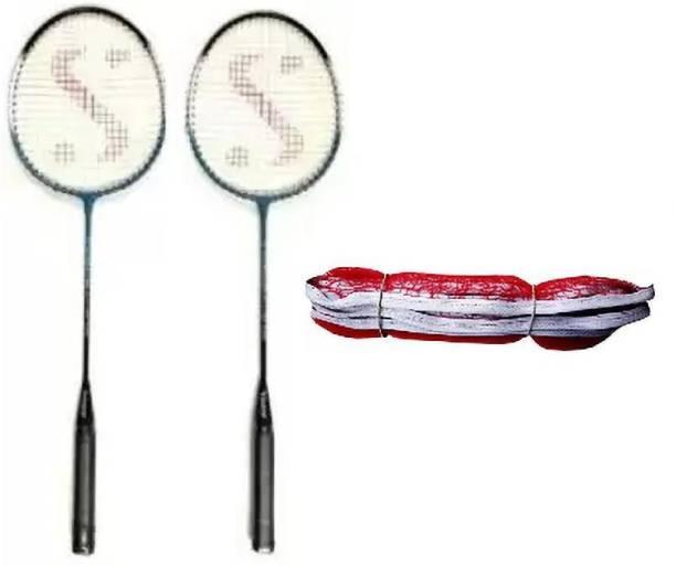 Monika Sports 2 Pc single Shaft Racquet + 1 Badminton Net Badminton Kit