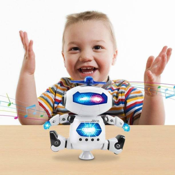 Affiliates Naughty Dancing Robot with 3D light & music-Batteries Operated (White, Blue)