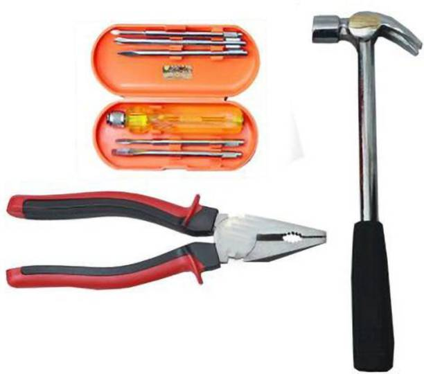 JetFire Hand Cutting Piler, Screw Driver Set of 6 pc & 1 Steel Hammer Power & Hand Tool Kit