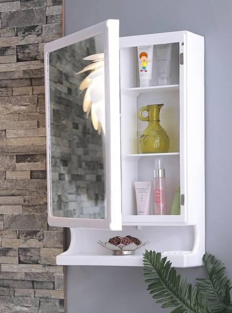 FLIPZON New Look Multipurpose Bathroom Mirror Cabinet Plastic Wall Shelf