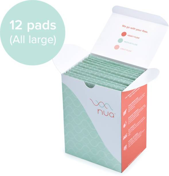 Nua Ultra Thin Rash Free Sanitary Pads - 12 Large Pads with Disposal Cover    Medium Flow    Wider Back Design    Zero Toxins Sanitary Pad