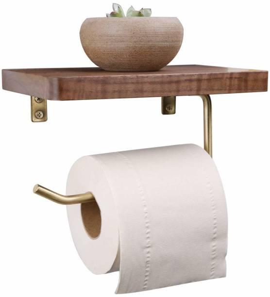 MFS Craft World Wooden Toilet Paper Holder Phone Shelf Wooden Toilet Paper Holder