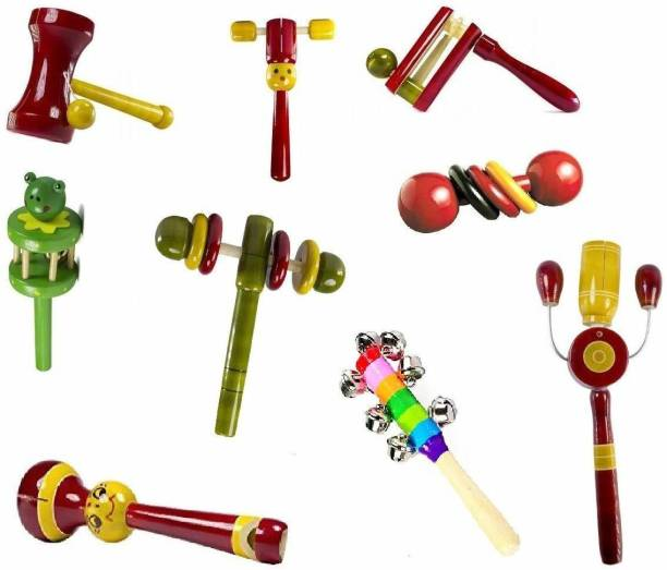 voolex •Wooden Hand Crafted Rattle Set for Kids, Babies, Childrens, Gifts for Kids - Pack of 9 Rattle