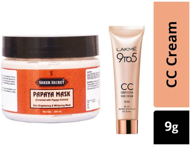 Sheer Secret Papaya Mask 300ml and Lakme 9To5 CC Complexion Care Beige Cream 9g