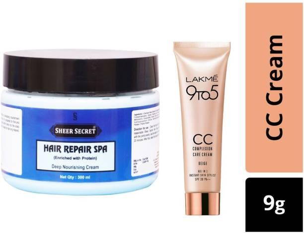 Sheer Secret Hair Repair Spa Cream 300ml and Lakme 9To5 CC Complexion Care Beige Cream 9g