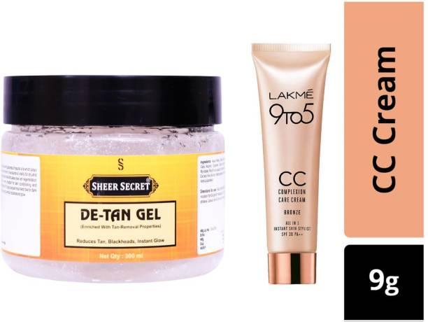 Sheer Secret De-Tan Gel 300ml and Lakme 9To5 CC Complexion Care Bronze Cream 9g