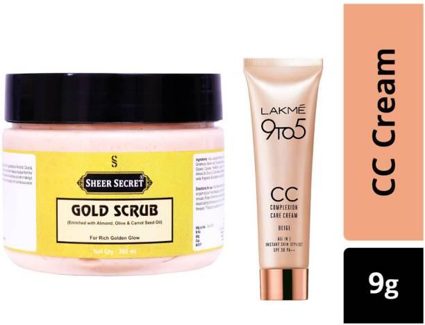 Sheer Secret Gold Scrub 300ml and Lakme 9To5 CC Complexion Care Beige Cream 9g