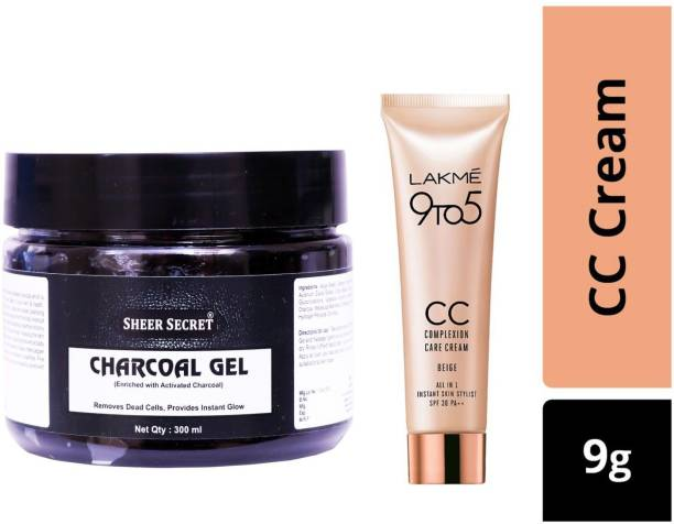 Sheer Secret Charcoal Gel 300ml and Lakme 9To5 CC Complexion Care Beige Cream 9g
